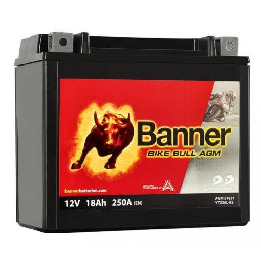 BANNER BIKE BULL MOTOR AKKUMULÁTOR AGM 518 21 ( YTX20L-BS )