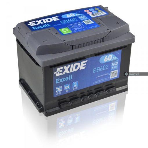 EXIDE EXCELL EB602 12V 60AH 540EN JOBB+ AUTÓ AKKUMULÁTOR