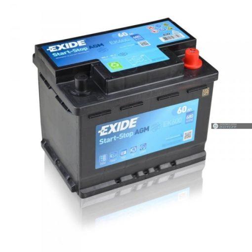 Exide AGM Start - Stop EK600 12V 60Ah 680En Jobb+ Autó Akkumulátor