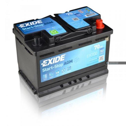EXIDE AGM START - STOP EK700 12V 70AH 760EN JOBB+ AUTÓ AKKUMULÁTOR