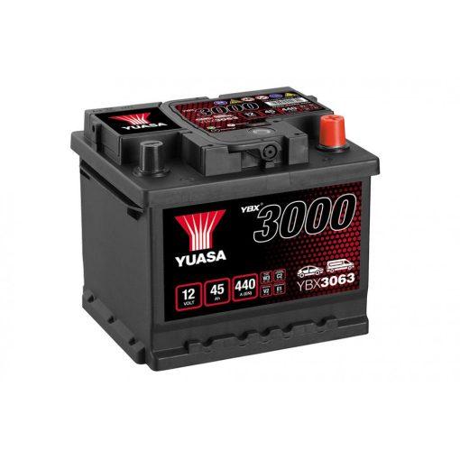 Yuasa YBX3063 12V 45Ah 440EN Jobb+ Akkumulátor