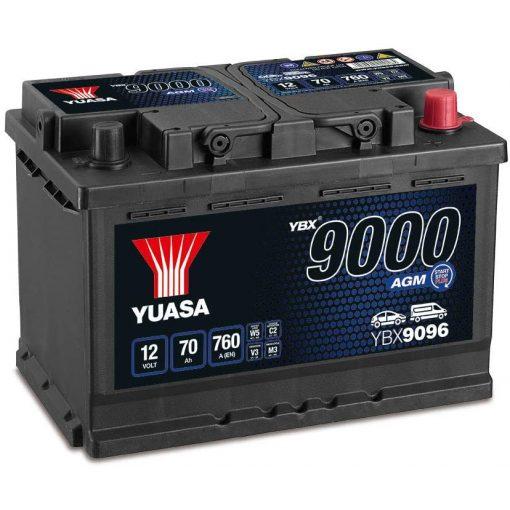 YUASA YBX9096 12V 70AH 760EN JOBB+ AGM START STOP AUTÓ AKKUMULÁTOR