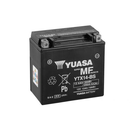 YUASA YTX14-BS 12V 12.6Ah 200A MOTOR AKKUMULÁTOR
